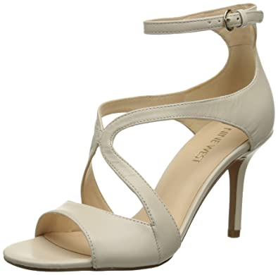 Nine West Women's Gerbera Leather Heeled Sandal, Off White, ...