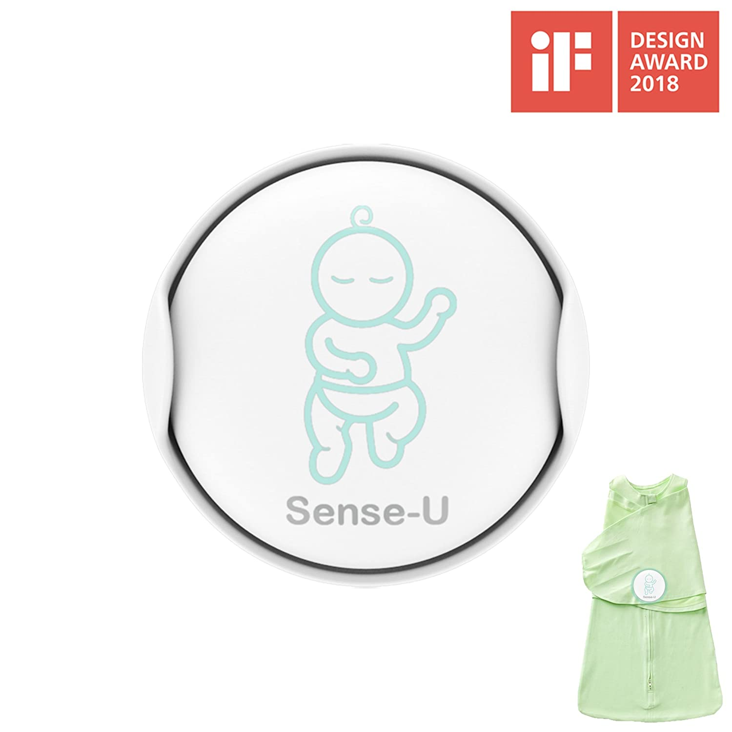 Sense-U Baby Breathing & Rollover Movement Monitor with a FREE Sleepbag(Small: 0-3months): Alerts You for No Breathing, Stomach Sleeping, Overheating and Getting Cold with Audible Alarm from Your Smartphone SU-SLEEPBAG