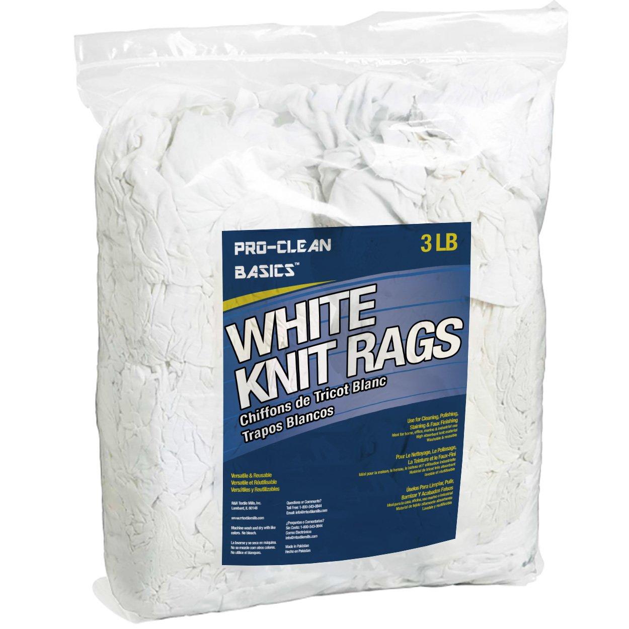 Pro-Clean Basics White T-Shirt Cloth Rags: 3 lb. Bag