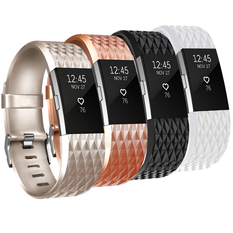 4 Mallas Small para Fitbit Charge 2 Negro / Champán / Oro ro