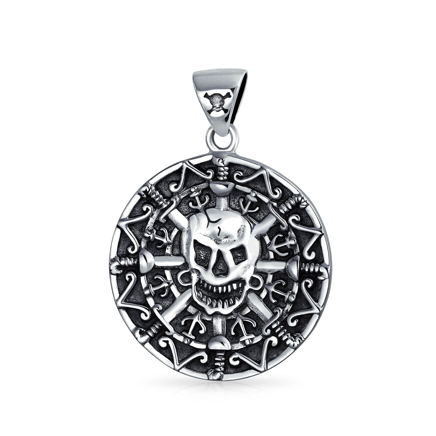 Deluxe Adult Costumes - Men's sterling silver Aztec medallion coin pirate skull pendant