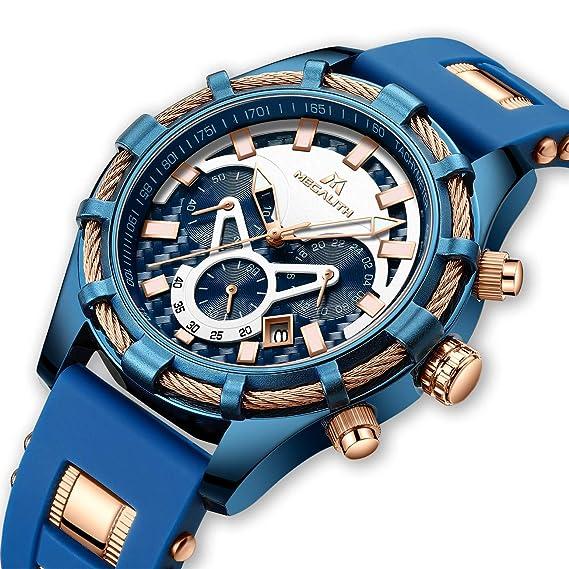 Relojes de Hombre Relojes de Pulsera Impermeable Deportivo Cronógrafo Grandes Diseñador Azul Reloj Hombres Negocios Lujo Luminosos Día Fecha Moda de Goma: ...