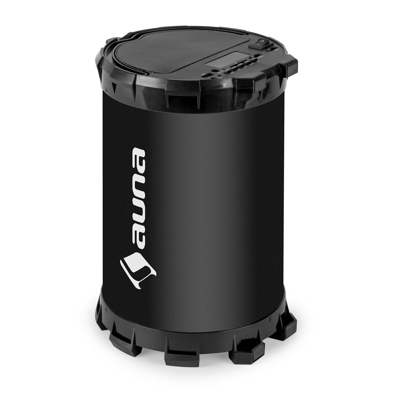 auna Dr. Black Boom 2.1 Altavoz con Bluetooth (20W Potencia máxima, Radio FM, con entradas USB, SD, AUX, batería integrada, inalámbrico, ...