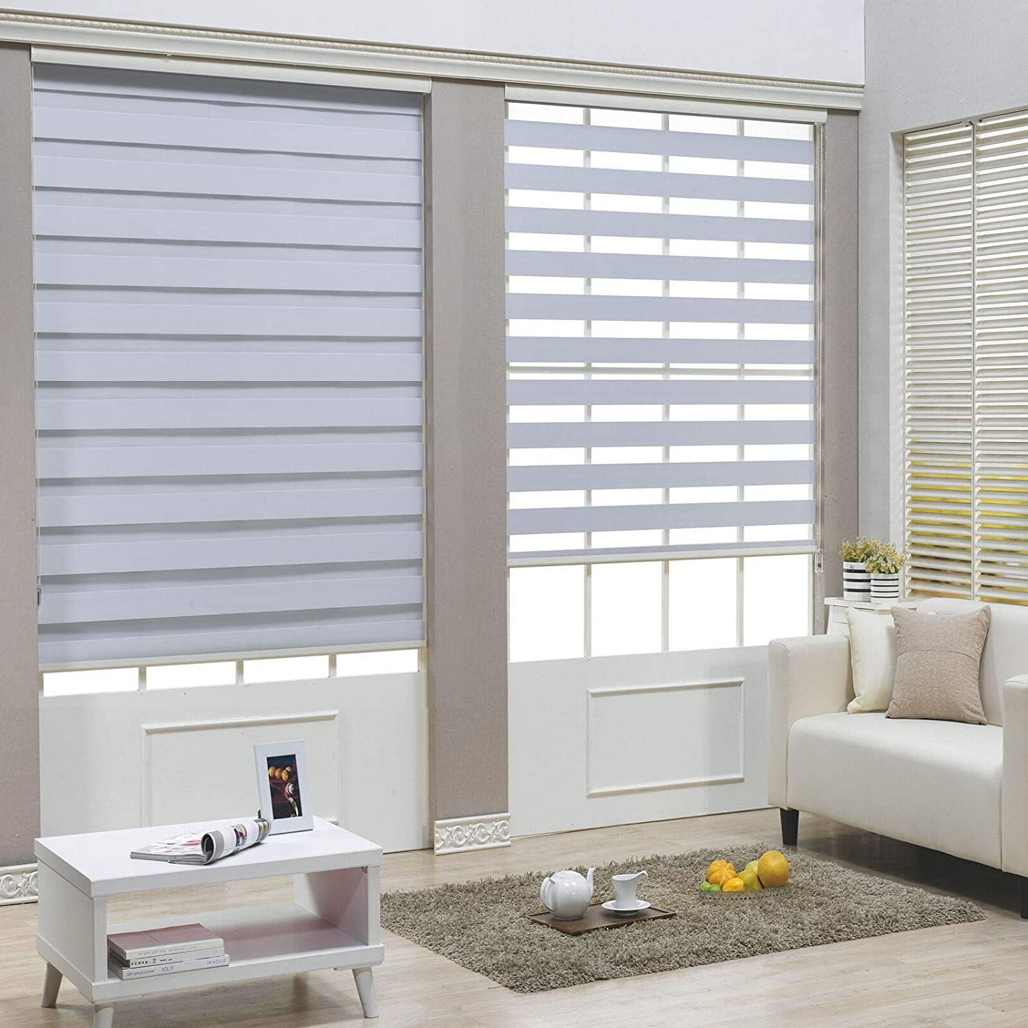"""HTTMT- Zebra Roller Blinds [(W)71"""" x (H)72""""] White, Cordless, Dual Layer Shades, Sheer or Privacy Light Control, Day and Night Window Drapes, Easy to Install, Striped Dove [P/N: ET-ZB-W-71]"""