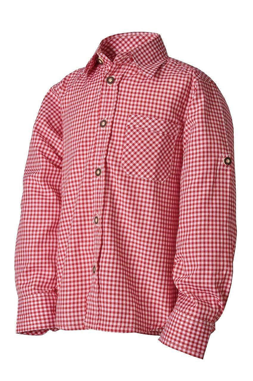 Lekra Kinder Trachtenhemd Leon rot/weiß karo