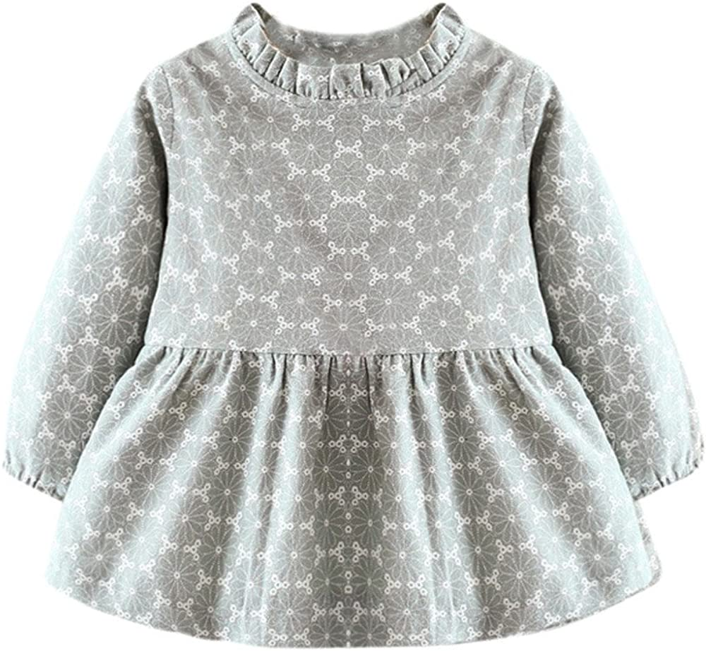 Kids Girls Long Sleeve Princess Dress Tops Tunika Skirt Spring Clothes Age 3-8Y