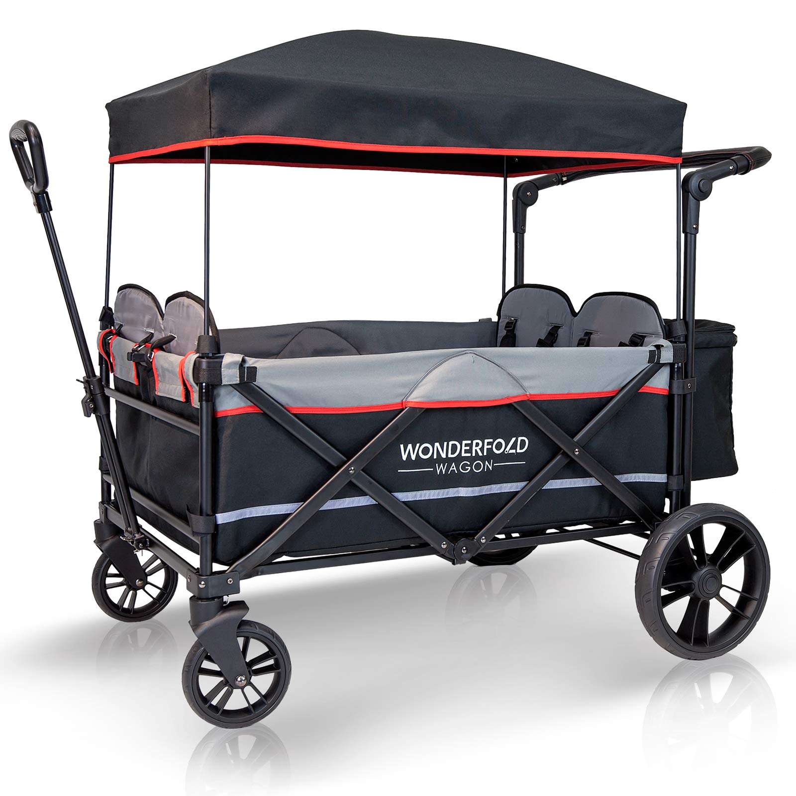WonderFold Baby XXL 4-Passenger Pull/Push Quad Stroller Wagon with Adjustable Handle Bar, Removable Canopy, Safety Seats with 5-Point Harness, One-Step Foot Brake (Black) by WonderFold Baby