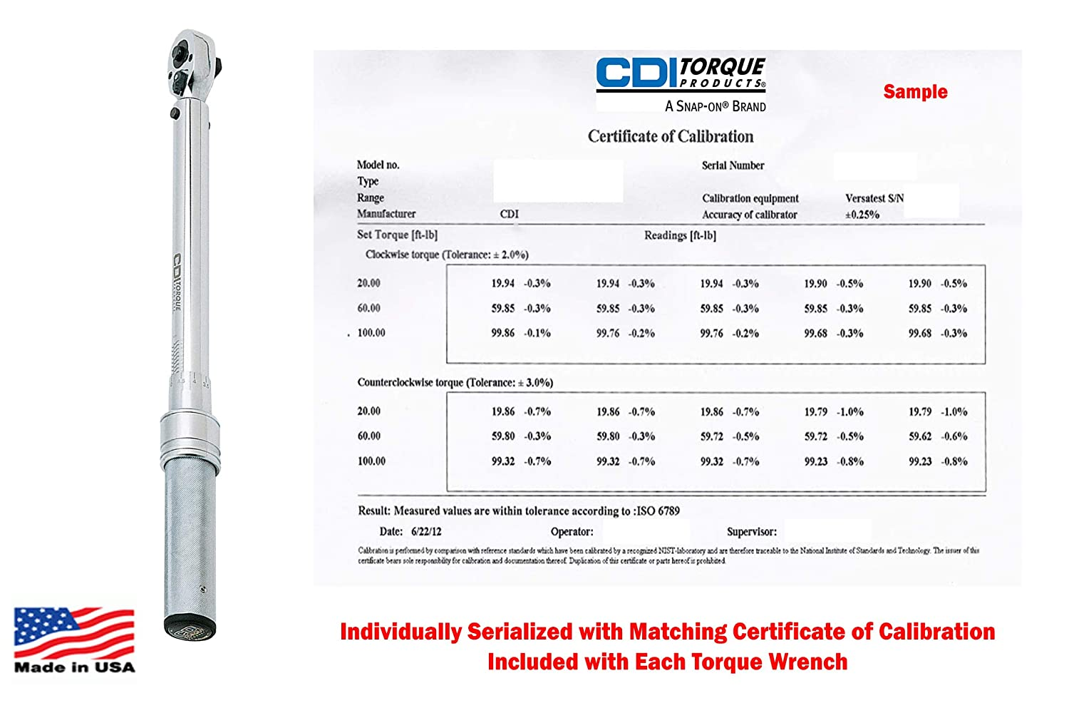 CDI Torque Products A Snap-On Company 1//2 Drive 30-250 Ft Lbs 47-332 NM Dual Scale Micrometer Adjustable Metal Handle Torque Wrench Individually Serialized with Matching Certificate of Calibration