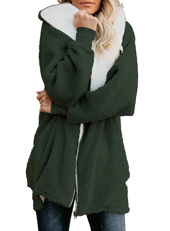 FARYSAYS Women's Oversize Zip Down Fuzzy Fleece Hooded Fluffy Cardigan Jacket Coat Outwear Pockets JS85209
