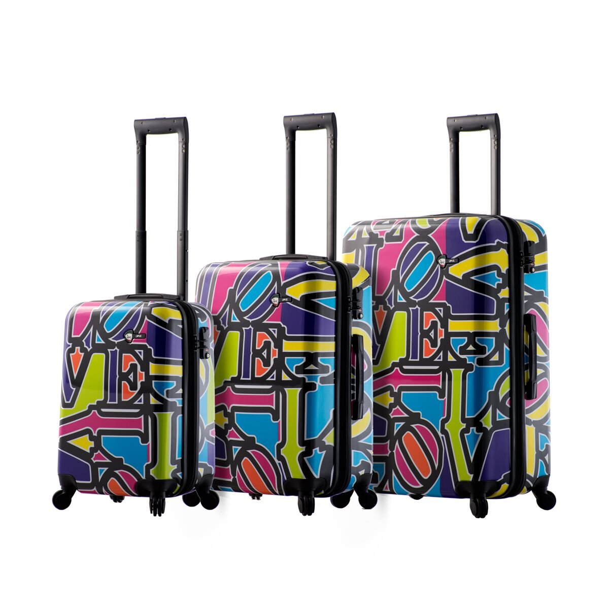 Mia Toro Love Collection Hard Side Spinner Luggage 3PC Set, Lcp, Love Collection Purple
