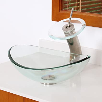 Bon ELITE Unique Oval Clear Tempered Bathroom Glass Vessel Sink U0026 Brushed  Nickel Waterfall Faucet Combo