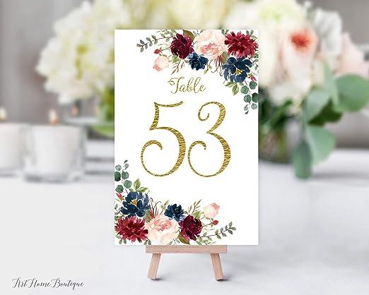 Ced454sy Marsala - Números de Mesa para Boda, números de Mesa ...