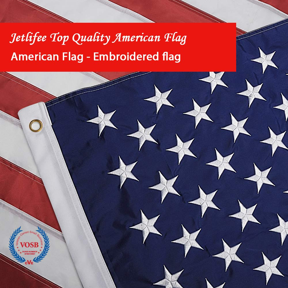 Jetlifee American Flag 6x10 Ft - by U.S. Veterans Owned Biz. Heavyweight Nylon Embroidered Stars, Sewn Stripes, Brass Grommets US Flag.Outdoors Indoors USA Flags Polyester 6 x 10 Foot.