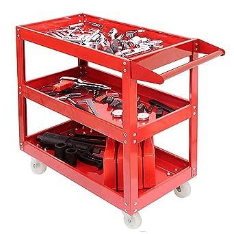 Carrito de taller de 3 niveles para taller de uso pesado, carrito de herramientas mecánico
