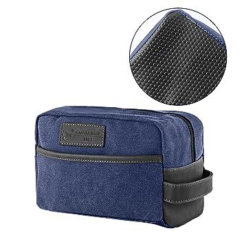 bdee294dda5 Amazon.com   Mens Toiletry Bag Vintage Canvas Wash Shower Organizer  Waterproof Shaving Kit Travel Bag Portable Dopp Kit(Navy Blue)   Beauty