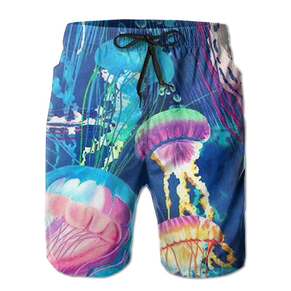 Jingclor Mens Beach Shorts Colorful Jellyfish Quick Drying Swim Trunks Boardshort With Pocket