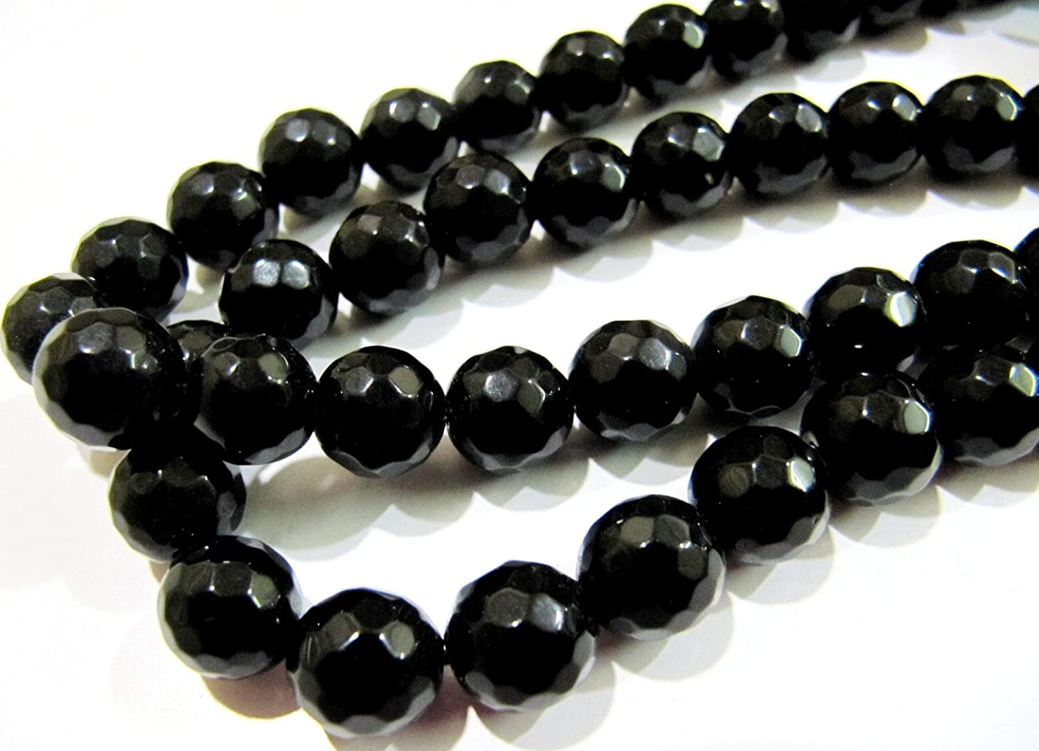Natural 10mm faceted black onyx gemstone necklace 38 Inch AAA