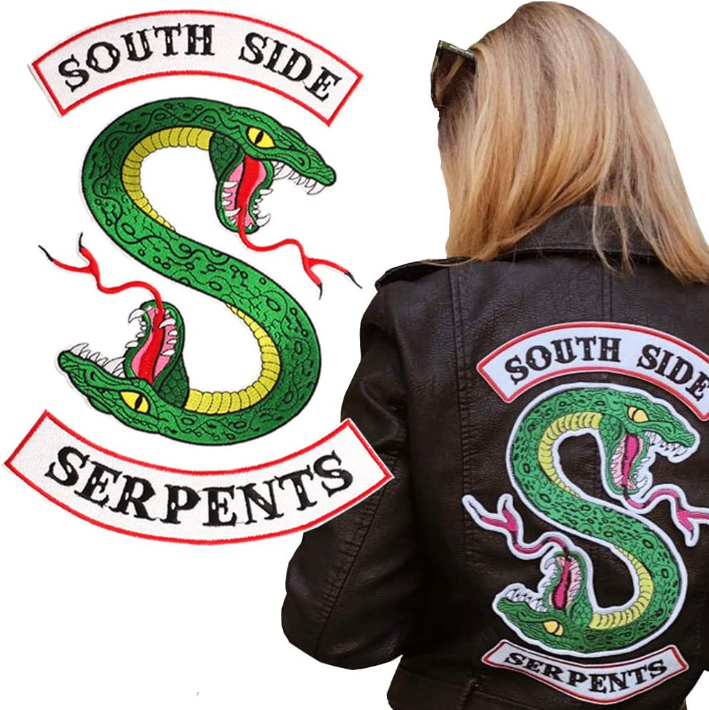 3 Piece Set 13 x 8.7 Inch Riverdale Large Southside Serpents Patch Sew On or Iron On Patches Cool Back Embroidered Applique Patches for Jackets Hoodie Shirts Backpacks Clothes