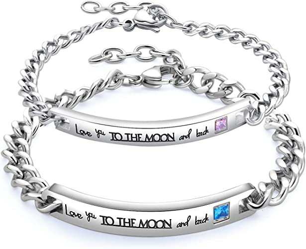 2pcs Sun and Moon Couples Bracelet His Hers Loves Bracelet Personalized Gifts
