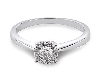 a4b2f73067c Bague solitaire en or blanc 18 K et Diamant 0.26 cts  Amazon.fr  Bijoux