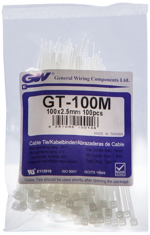 Gw Wiring Products Gt 100m Ltd Cable Tie 100 X 2 Kotak Dvd Double 9mm Pro 25 Mm Natural 1000 Pcs Piece Diy Tools