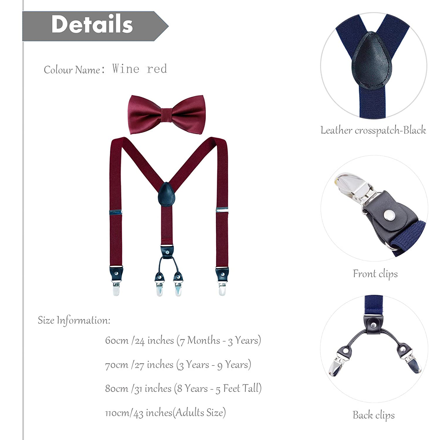 Light grey,27 inches 1 Inch,Black Leather 3 Years - 9 Years Y Shape Elastic Adjustable Suspender with 4 Strong Clips Men Boy Suspenders Bow Tie Set