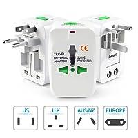 Alexvyan Universal European Travel Power Plug AC Outlet Plugs Adapters for Europe, UK, US, AU, Asia (White, Adapt1)