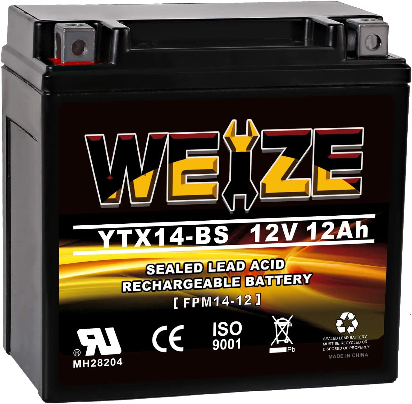 Weize YTX14 BS ATV Battery High Performance - Maintenance Free - Sealed AGM YTX14-BS Motorcycle Battery For Honda Suzuki Kawasaki Yamaha scooter snowmobile