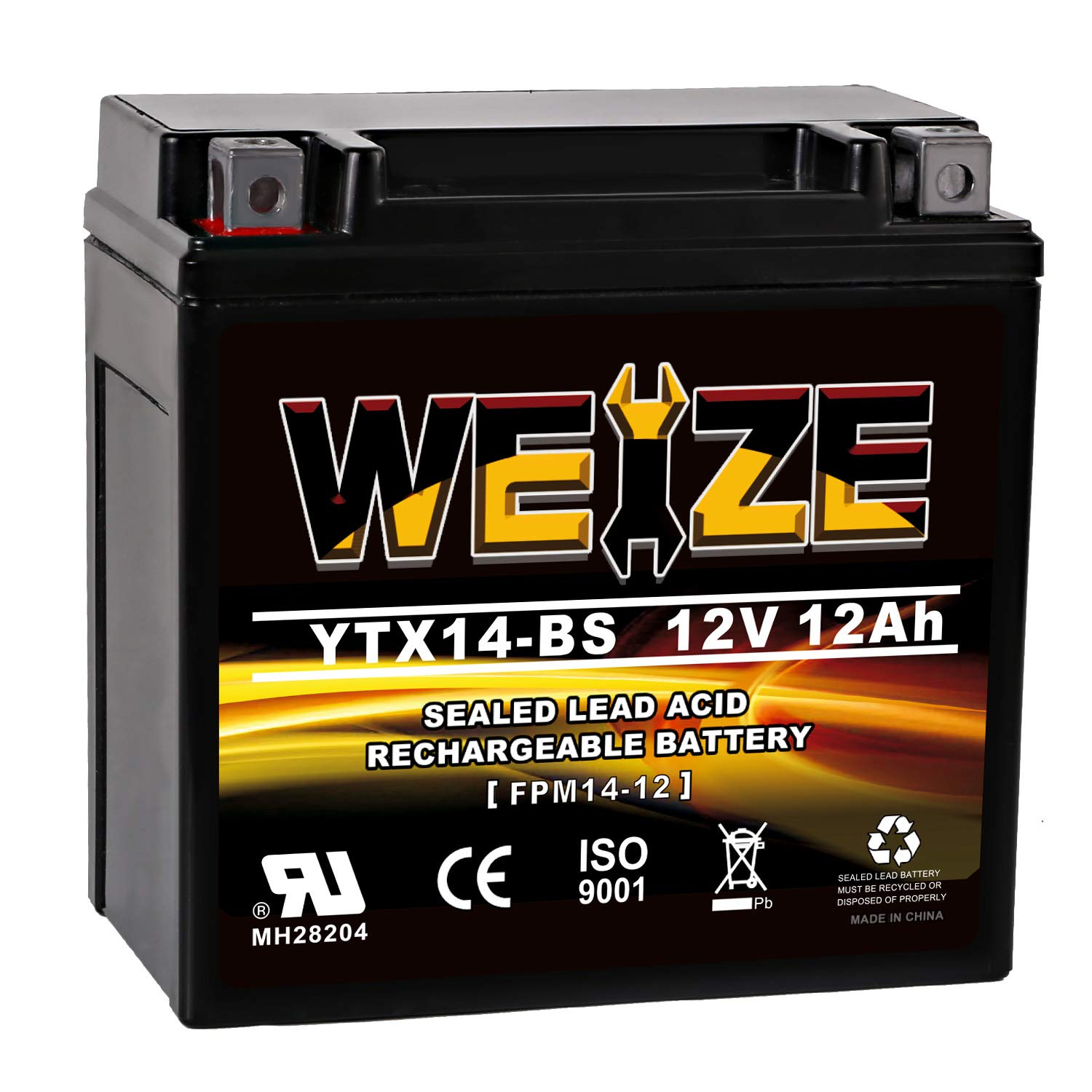 Weize YTX14 BS ATV Battery High Performance - Maintenance Free - Sealed AGM YTX14-BS Motorcycle Battery For Honda Suzuki Kawasaki Yamaha scooter snowmobile by WEIZE