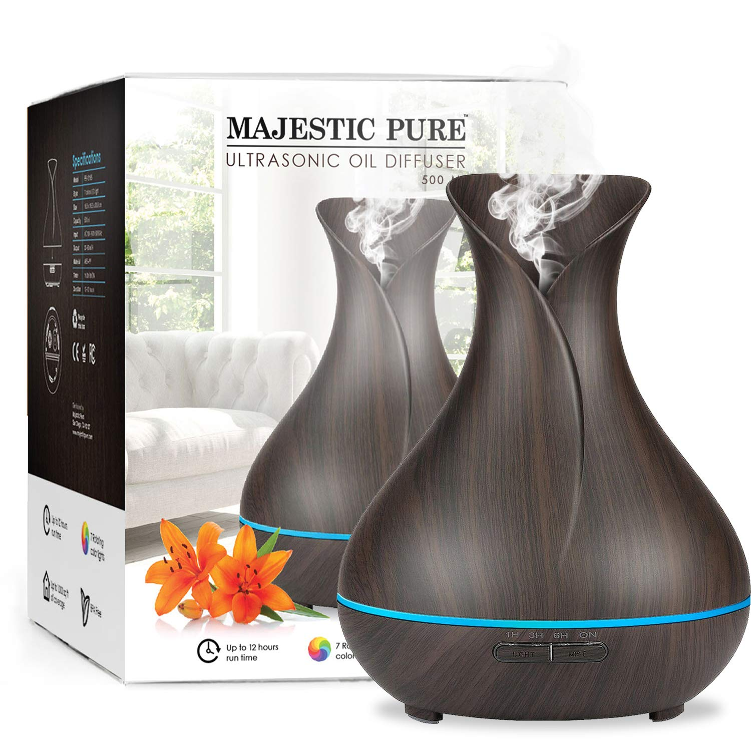 Majestic Pure Essential Oil Diffuser - Advanced Cool Mist Humidifier, Ultrasonic Aromatherapy Diffuser with Strongest Mist output - Large Room Coverage, Longer Run Times, BPA Safe - 400ml to 500ml