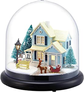 Rylai 3D Puzzles Miniature DIY Dollhouse Kit Fairy Tale Series Acrylic Dome Dolls Houses Accessories with Furniture LED Music Box Best Birthday Gift
