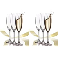 6 Pack - Set Of Classic-Elegant Stylish Flute Champagne/Wine Glasses Long Stem 6.75 oz. each. Ideal For Holiday…