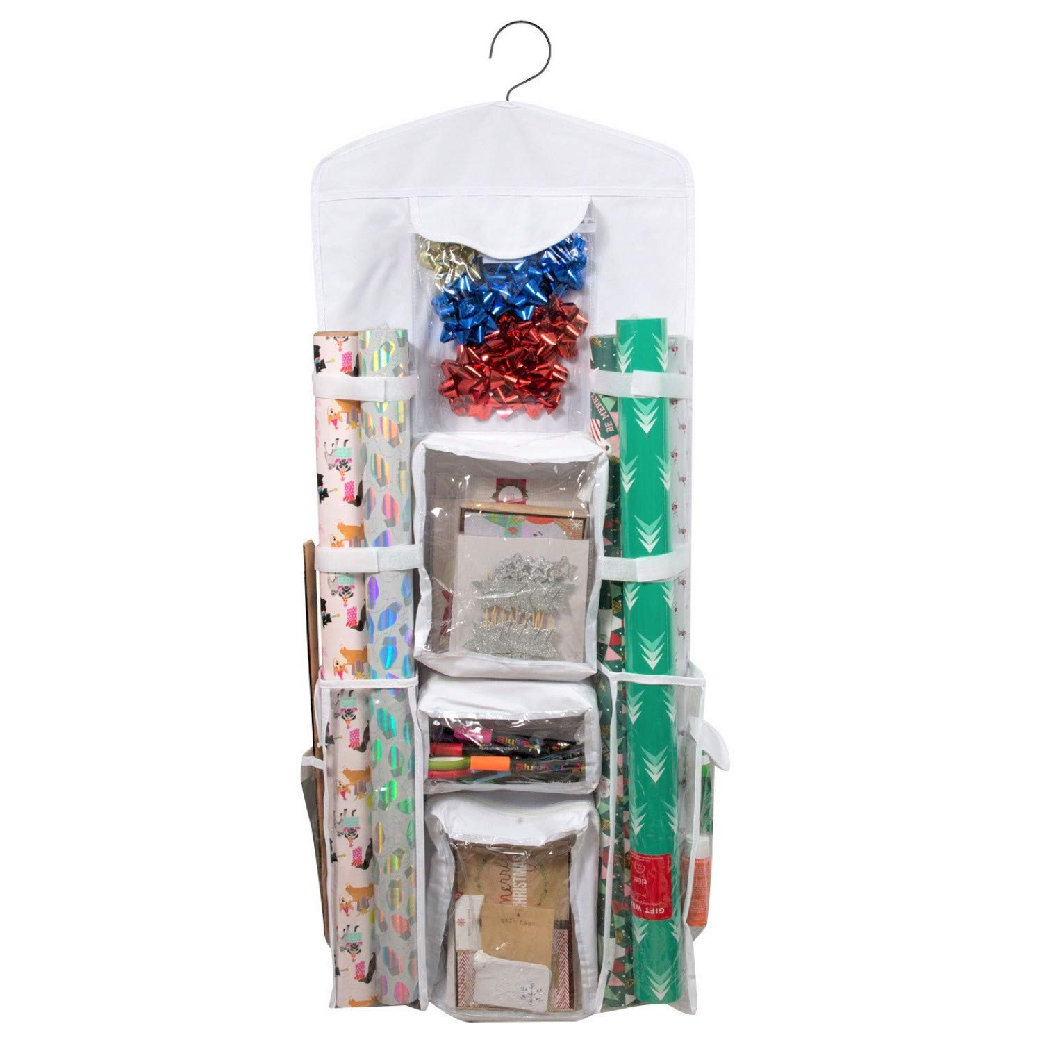 Houseables Wrapping Paper Storage, Gift Wrap Organizer, 10 Pockets, 43'' x 17'', White/Clear, Plastic, Home Closet Organization, Hanging Craft Holder, for Christmas Decorations, Ornaments, Ribbons by Houseables
