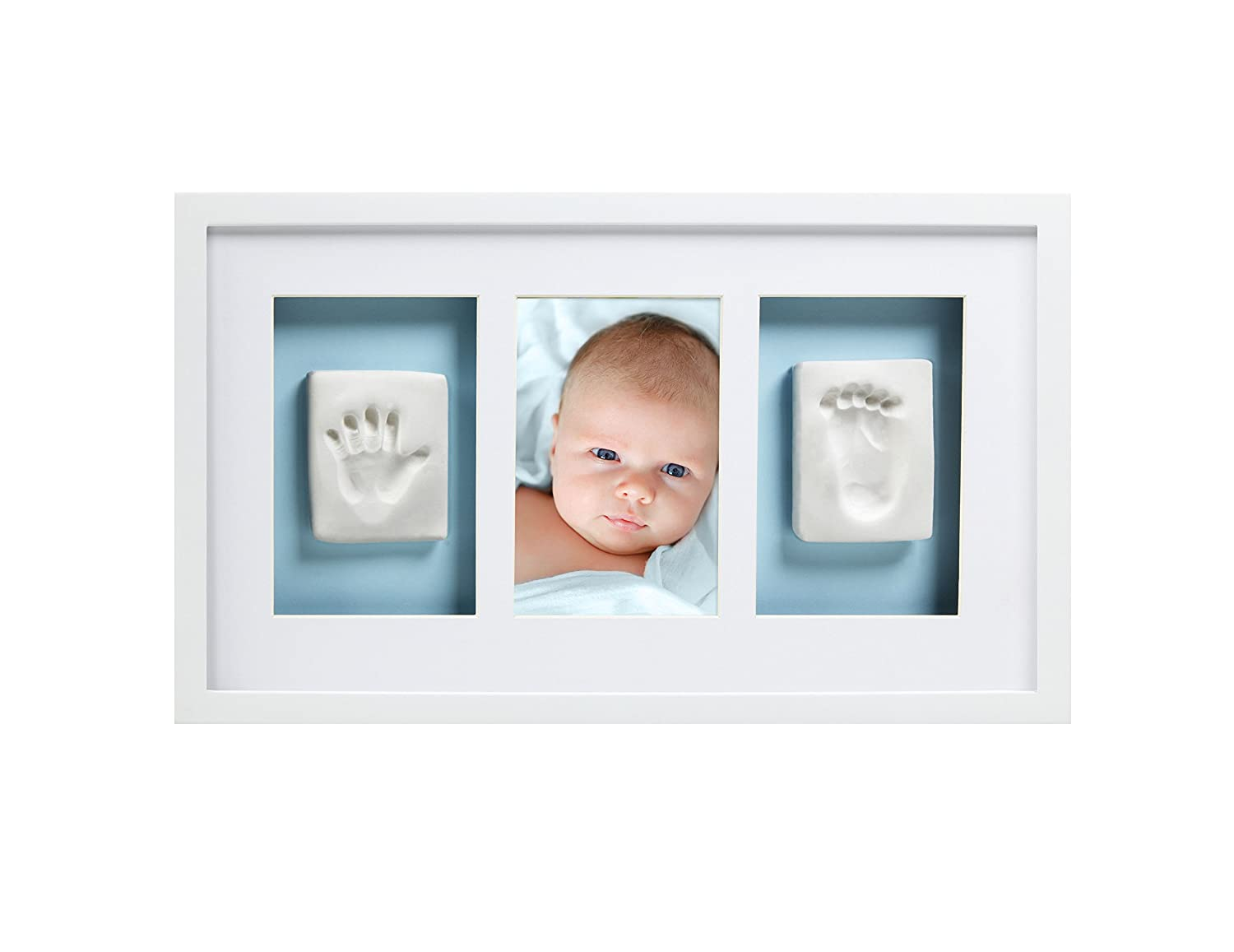 Pearhead Babyprints Handprint and Footprint Deluxe Wall Keepsake Frame (White) 11513