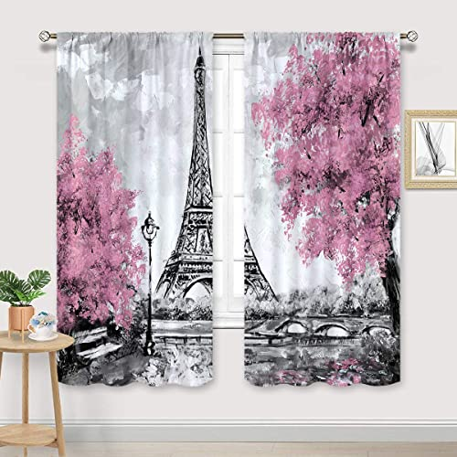 Cinbloo Eiffel Tower Curtains Rod Pocket Paris Pink Trees Oil Painting European City Landscape France Art Printed Living Room Bedroom Window Drapes Treatment Fabric 2 Panels 52 W x 84 L Inch