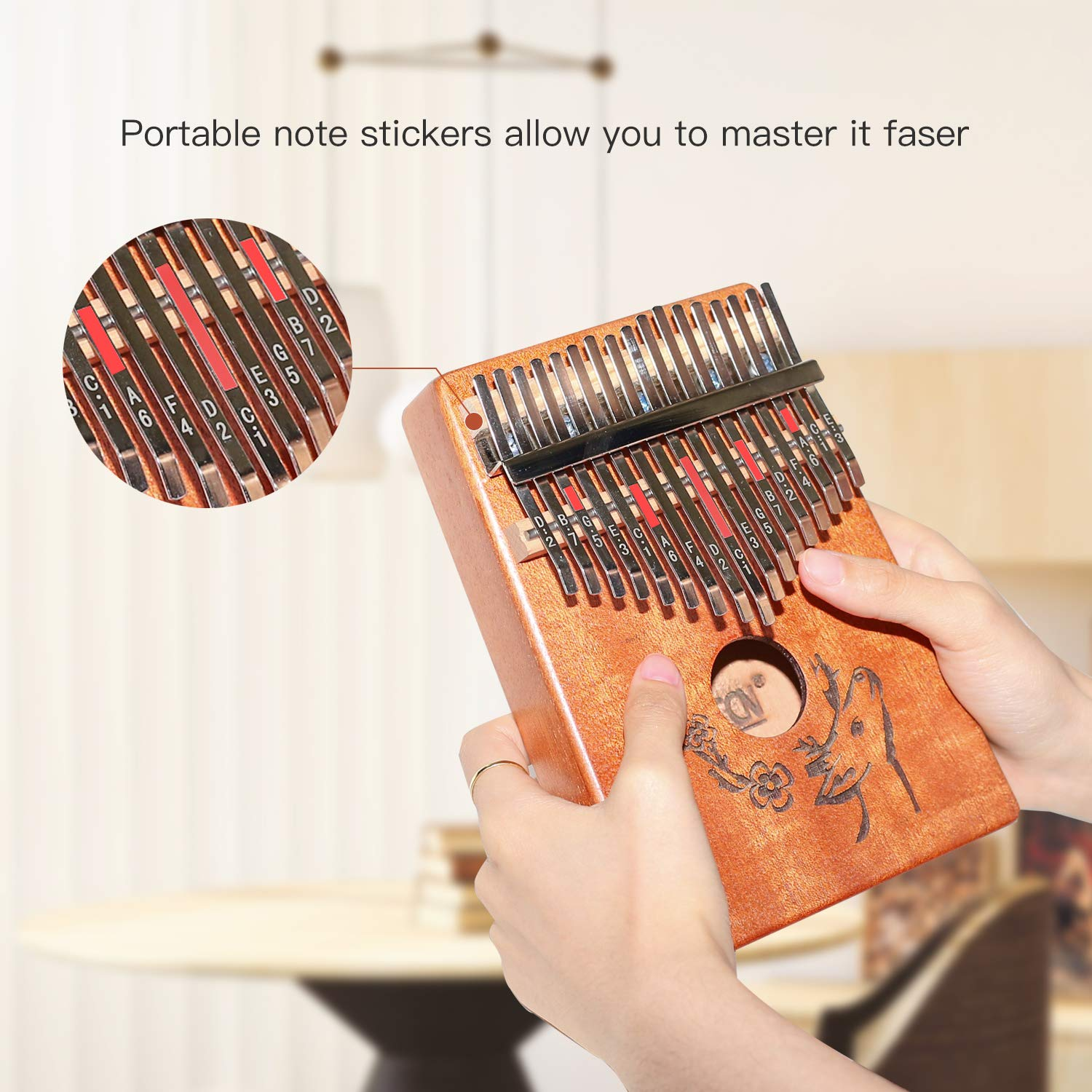 AECCN Kalimba 17 Keys Thumb Piano - Pocket Size With Study Instruction and Tune-Hammer & Simple Sheet Music, Christmas Day Birthday Gifts Idea for Kids Adults Beginners, Professionals (Deer) by AECCN (Image #5)