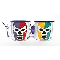 By Mexico Dúo Pocillos de Peltre modelo Máscara de Luchador 360 mililitros