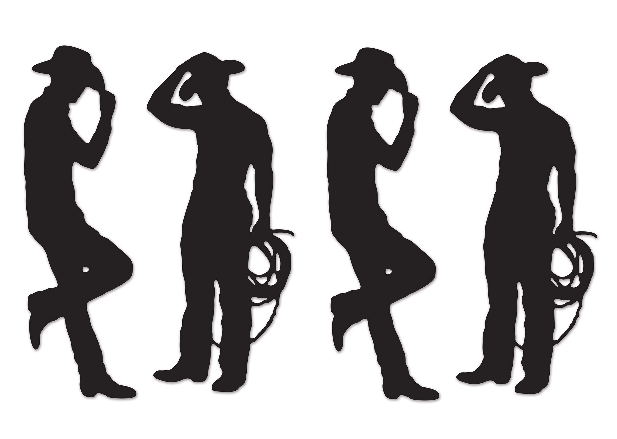 Beistle S54225AZ2, 4 Piece Cowboy Silhouettes, 35'' & 37'' (Black) by Beistle