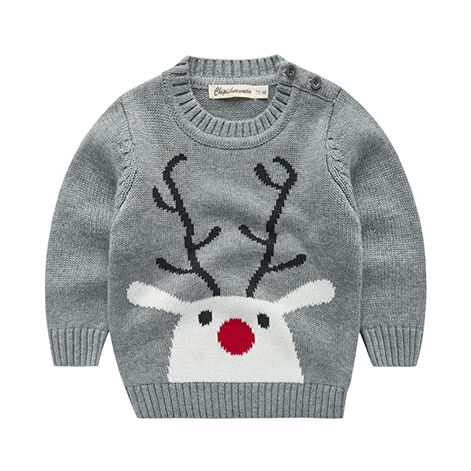 WYTbaby Suéter para Niños Navidad Reno Sudadera Invierno Jerseys de Punto Traje de Navidad Pullover