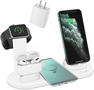 ZHOUBIN Wireless Charger Dock, 4 in 1 Wireless Charging Station Compatible with Apple Devices(Apple Watch, AirPods, iPhone 11/11Pro/11Pro Max/X/XS/XR/Max / 8/8 Plus), White