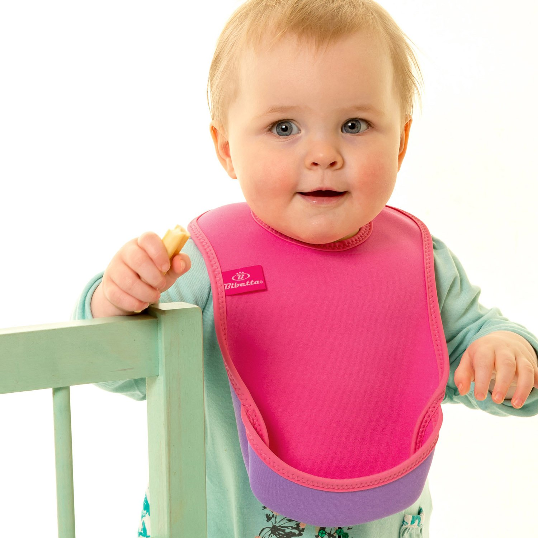 Pink Butterfly Feeding Bibs for Babies 2 Pack Bibetta Ultrabib Baby Bib with Pocket