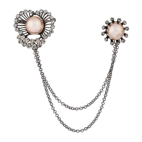 cb92b08b2 OBONNIE Vintage Women Crystal CZ Pearl Flower Pin Brooch with Chain Tassel  Lapel Pin Collar Clip