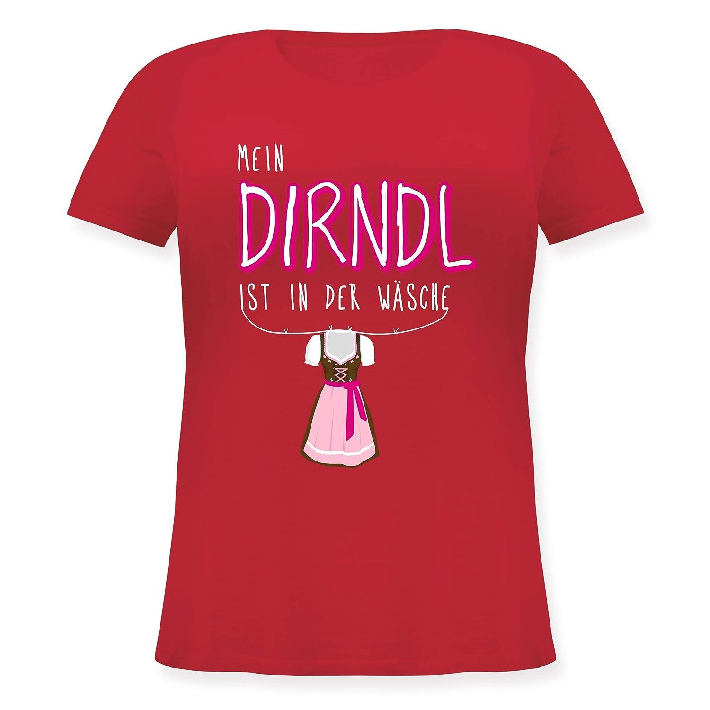 Mein Dirndl ist in der W/äsche Weiss Oktoberfest Damen Lockeres Damen-Shirt in gro/ßen Gr/ö/ßen mit Rundhalsausschnitt