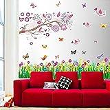 Walplus Stickers muraux pour chambre d'enfant Oiseaux/fleurs/arbres/papillons