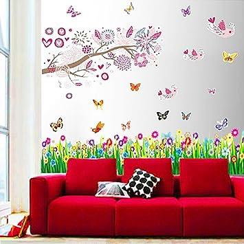 Walplus Stickers Muraux Pour Chambre Du0027enfant Oiseaux/fleurs/arbres /papillons
