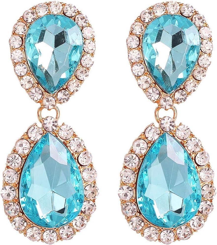Pendientes de novia exquisitos, pendientes largos con piedras preciosas y diamantes de lujo.