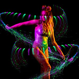 GloFX [Sparkle Fiber] Space Whip Remix - Programmable LED Fiber Optic Whip, 6 Ft 360° Swivel - Super Bright Light Up Rave Toy EDM Pixel Flow Lace Dance Festival