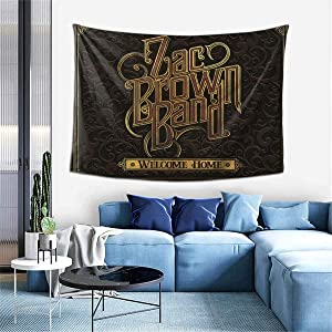 PeterLLowery Zac Brown Band Welcome Home Tapestry Indoor Wall Hanging Window Curtain Picnic Mat Decor Bedroom Living Room 60x40 Inch
