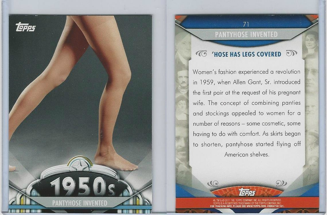 2011 Topps, American Pie, 71 Pantyhose Invented