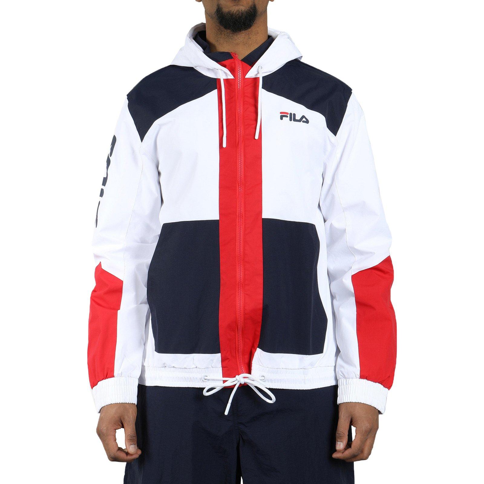 Fila Men's Earl Full Zip Hooded Jacket, White, Peacoat, Chinese Red, 2XL